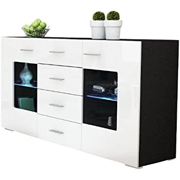 sideboard kommode gr mitz korpus in schwarz matt front in wei hochglanz vladon. Black Bedroom Furniture Sets. Home Design Ideas
