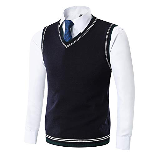 YinQ Mens Sweater Vest Fine Knit...