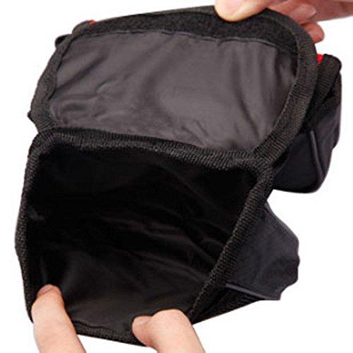 FakeFace 420D Nylon 3-Fach Oberrohrtasche mit Netz Handyfach Satteltasche Gepäckträgertasche für Fahrrad Mountainbike Radsport 15 x 14 x 12 (Schwarz) Rot