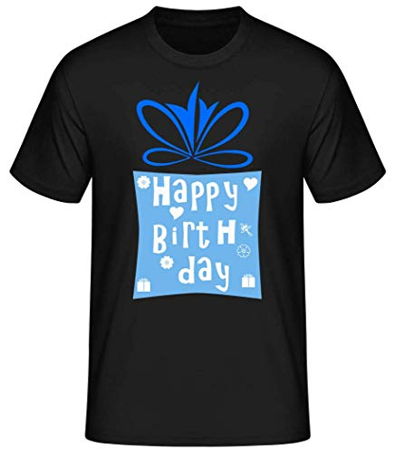 Shirtinator Männer Basic T-Shirt   Happy Birthday Logo   Geschenke Lustig (Schwarz, XL)