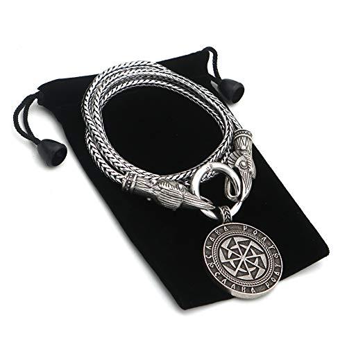 NICEWL Wikinger Krähenkopf Halskette-Nordische Mythologie Sonnenrad Rune Anhänger, Heidnisches...