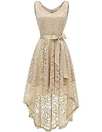 Misshow Abendkleider Elegant Für Hochzeit Mit Spitze Ballkleid Hi-Lo Prom  Dress 4c2b4185af