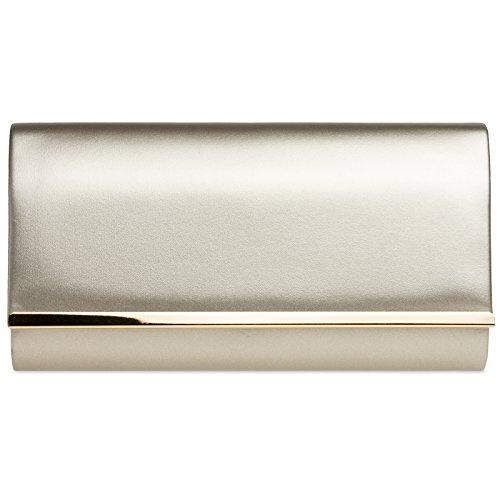 CASPAR TA415 elegante Damen Envelope Clutch Tasche Abendtasche, Farbe:champagner;Größe:One Size