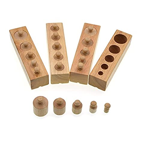 Teaching aids, Preschool educational toys, Small cylindrical socket,Wooden toy, Joggles Solids-Family Set-Set of 4 Mini (Mini Cane Giocattolo Anelli)