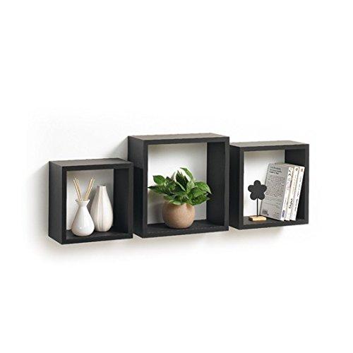 Modul'home 6ran789bc - mensole a cubo, in mdf, 11,8 x 30 x 30 cm, pannello mdf, nero, 3 taglie 23 cm/26,5 cm/30 cm