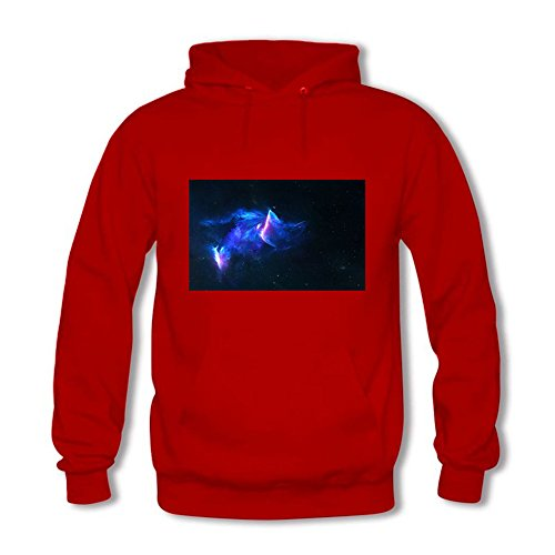 Women's Cat Galaxy Hoodie Astro Space Animal Face Cosmic Hooded Sweatshirt Red 2XL