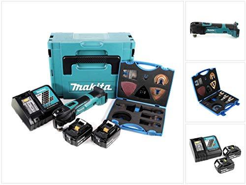 Makita DTM 51 RTJ 18V Li-Ion Akku Multifunktionswerkzeug im Makpac + 2x BL 1850 B 5,0 Ah Li-Ion Akku + DC 18 RC Akku Schnellladegerät + Wellcut MT-20 Sägeblätter Klingen