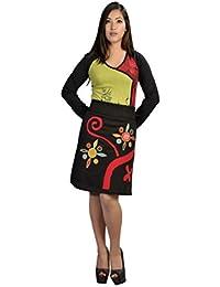 Mesdames Mini jupe avec une ceinture élastiquée & Patch coloré et broderie
