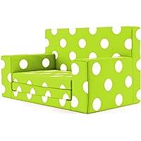 2 in 1 Kindersofa in Grün mit weißen Punkten und Waschbarem Überzug -Weich & Sicher Ausklapp Spielzeug Sessel Möbel Couch mit Bettfunktion Schlaf Matratze zum Auffalten für Kinder von 1-4