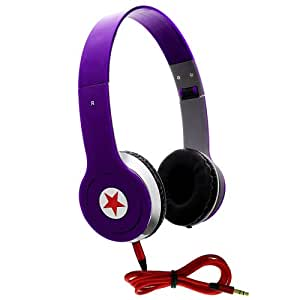 CellBig Crystallized Stereo Gorgeous Purple Portable Headphones Earphone Headset Hands Free Headband Super Bass Effect Included Detachable AUX Cable Lead Wire For Your Samsung Galaxy S Lightray 4G R940 / Pro / Relay 4G T699 / WiFi 5.0 / Epic 4G Touch / S3 III AT&T / I535 / I747 / more / Star Pro S7260 / Core Plus / Fresh S7390