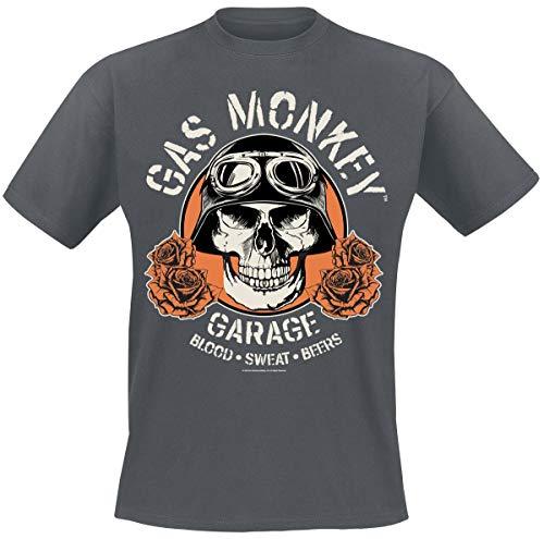 Gas Monkey Garage Skull T-Shirt dunkelgrau meliert XL -