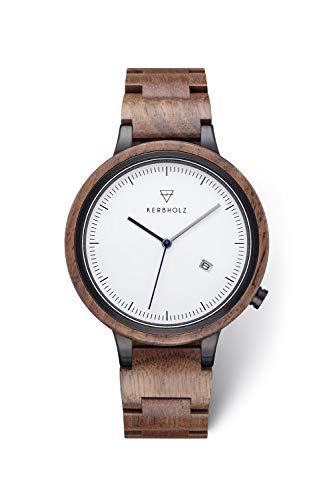 KERBHOLZ Holzuhr - Classics Collection Lamprecht analoge Quarz Uhr für Herren Gehäuse und verstellbares Armband aus massivem Naturholz, Ø 42mm, Walnuss Schwarz (Uhr Wewood)