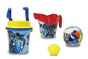 Jamara 410136 Batman - Juego de Cubo de Arena con Licencia Oficial (7 Piezas, Pala, Pala, moldes, regadera, Pelota, colador de Arena), Color Azul