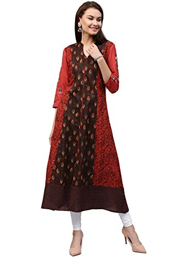 [Sponsored]Jaipur Kurti Women's Cotton Kalidaar Long Kurta With Embroidery & Front Slit (Brown)