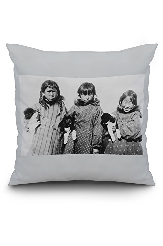 eskimo-girls-with-husky-puppies-photograph-20x20-spun-polyester-pillow-case-custom-border
