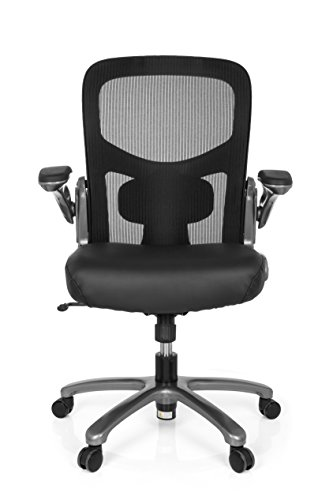 hjh OFFICE 736220 XXL Bürosessel Instructor T Leder/Netz Schwarz hochwertiger Drehstuhl bis 220 kg belastbar - Leder Home Decor