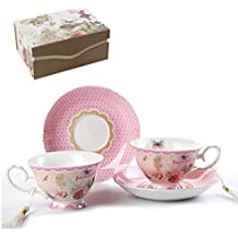 Coffee Tea cup and Saucer set 2 Shabby Chic Vintage Flora porcelain set Gift Box (Pink Beautiful Life)