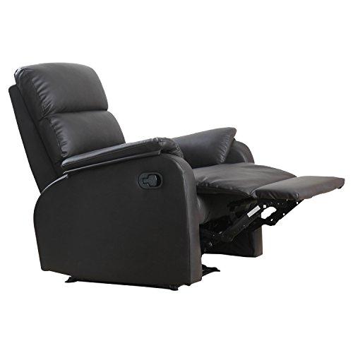Homcom poltrona relax reclinabile manuale similpelle 75 × 92 × 99cm marrone