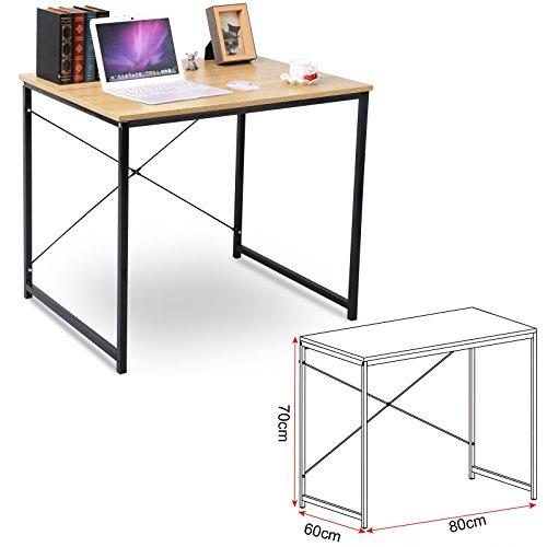 EUGAD Schreibtische 80x60x70 cm Computertisch PC-Tisch Bürotisch Arbeitstisch Esstisch Holz, TSB03hei