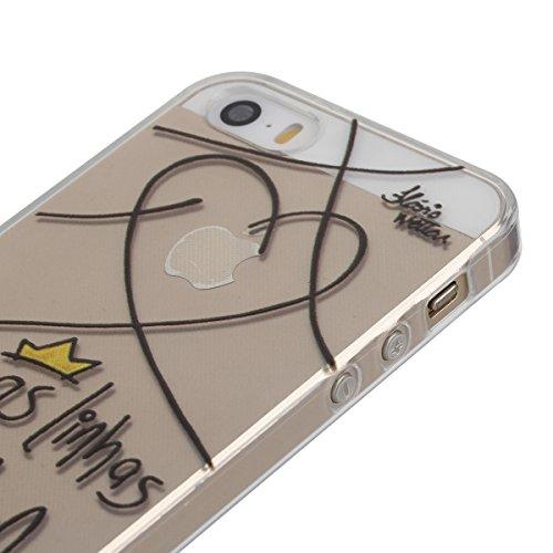 iphone 6s plus Transparent Housse,Silicone TPU Gel Etui pour iphone 6 plus,Ekakashop Jolie Design Ultra Mince Soft Souple Arrière Cristal Clair Gel TPU Bumper Case Coque de Protection Couverture Swag  Ligne d'amour