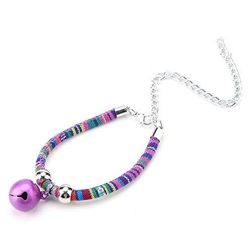 ze Kragen einstellbar geflochtenes Kätzchen Choker Halskette Halsband Pflege Zubehör Heimtierbedarf mit Glocke Verlängerungskette für Hochzeit Geburtstage Photoshot (Lila) ()