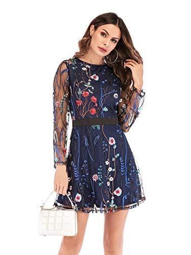 631292d1f74f SOLY HUX Mujer Vestidos Manga Larga, Coctel Vestido, Vestido Mallas Damas  para Fiestas Diario