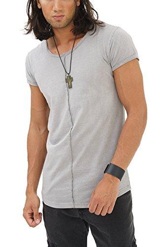 trueprodigy Casual Herren Marken T-Shirt Einfarbig Basic, Oberteil Cool und Stylisch mit Rundhals (Kurzarm & Slim Fit), Shirt für Männer in, Größe:L, Farben:Darkgrey