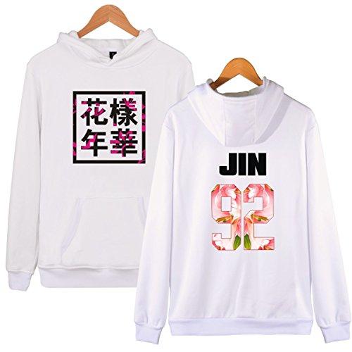 SERAPHY Unisex cappuccio invernale BTS Forever Young Felpe con cappuccio con Pile Suga Jin Jimin Jung Kook J-Hope Rap-Mostro V bianca-92-JIN