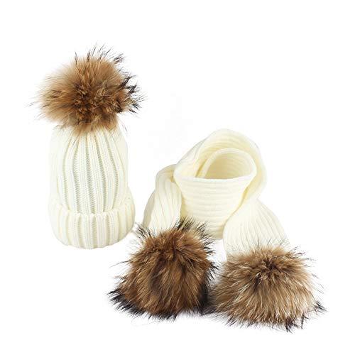 Baby Winterset,Transwen Baby Winter Warm Kleinkind Strickmütze Haar Ball Kinder Mädchen Jungen Hut Cap + Schal Kleinkinder Hüte Mützen Schal (2-10 Jahre) (Weiß)