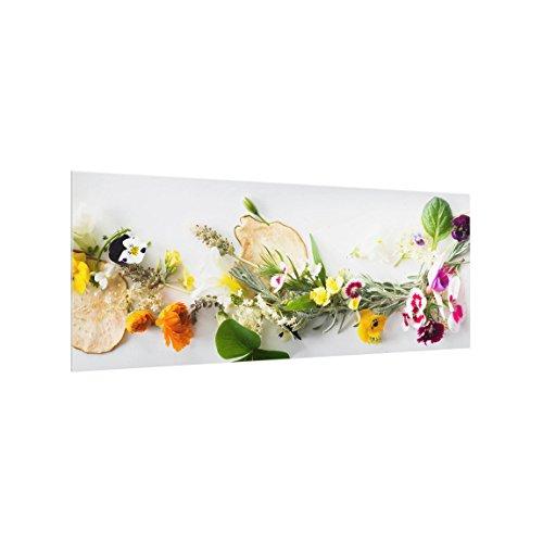 Bilderwelten Spritzschutz Glas - Frische Kräuter mit Essblüten - Panorama Quer, 40cm x 100cm -