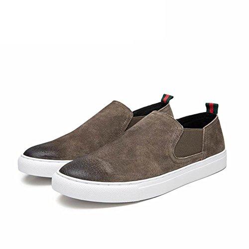 Zapatos De Cuero Para Hombres Casuales / Vestido / Otoño / Negocios / Pies Grandes / Moda / Slip On / Marrón-negro Marrón