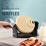 Belgian Waffle Maker Rotary Electric Iron 180° with Non Stick Coated Cooking Plates, 920W (Cream) - Great Gift for Men and Women