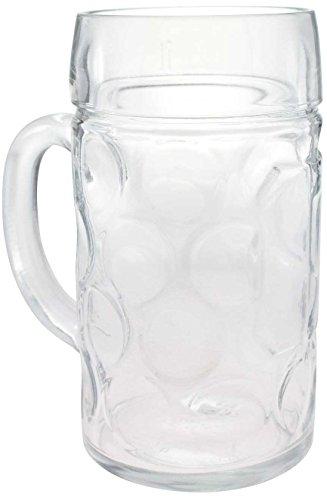 Bavariashop Glas Maßkrug mit Henkel, ohne Dekoration, Neutral, 1 Liter Fassungsvermögen