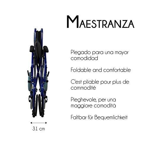41ABdnU3KsL - Mobiclinic - Silla de ruedas de tránsito, Plegable, Reposabrazos y reposapiés extraíbles , Negro