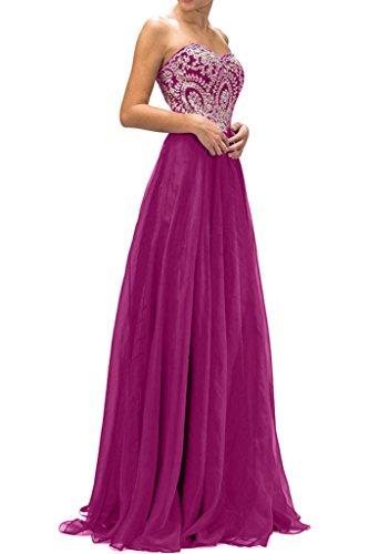 Sunvary Damen Herzform Stickerei Lang Chiffon Abendmode Bodenlang Partykleider Abendkleid Fuchsia