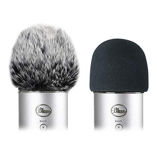 Schermo del vento in schiuma con coperchio furry - Filtro Pop cover vento mic per Blue Yeti, Blue Yeti Pro USB Microphone (2 Pack)
