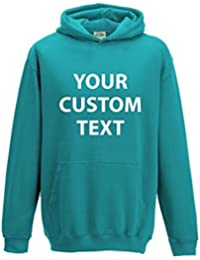 AWD Custom Printed Personalised Just Hoods Kids Hoodie kids and adults CUSTOM text print Just Hoods Kids Hoodie in GIFT BOX