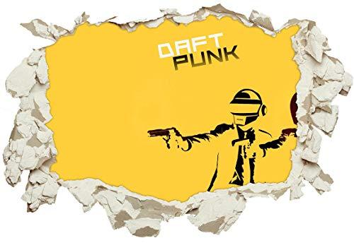 Unified Distribution Daft Punk Gelb Pulp Fiction - Wandtattoo mit 3D Effekt, Aufkleber für Wände und Türen Größe: 92x61 cm, Stil: Durchbruch (Daft Punk-aufkleber)