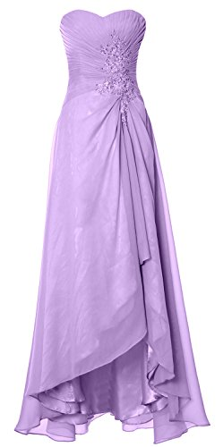 MACloth Elegant Hi Lo Simple Prom Dress Strapless Wedding Party Formal Gown Lavande