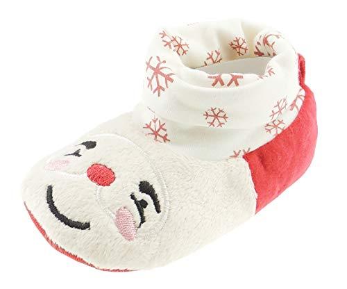 Baby Mädchen Jungen Winter Warm Kinderwagen Padders Booties Schuhe Rot festliche Weihnachten Schneeflocken Santa Smile (Jungen Dressy Schuhe)