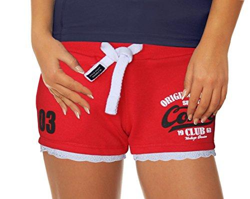 M.Conte Concetta donne breve Pantaloni Short Sweat-Pants della tuta di sport pantaloni blu neon rosa Bianco Rosso S M L XL Red Rot