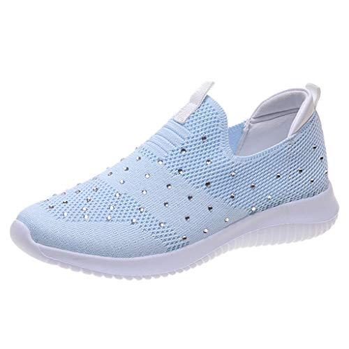 COZOCO Damen Strass Mesh Schuhe rutschfest Atmungsaktive Laufschuhe Flache Walk Schuhe Low-top Slip-on Freizeitschuhe(Blau,41 EU)