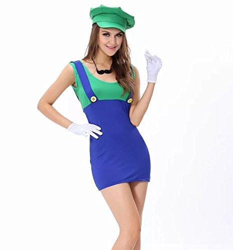 (thematys Super Mario Luigi Mütze + Kleid + Bart + Handschuhe - Kostüm-Set für Damen - perfekt für Fasching, Karneval & Cosplay)