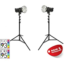 PIXAPRO LED100D MKII Súperbrillante Diaria 5600K Luz De Estudio Kit Doble Luces Video Película YouTube Entrevista LED Pantalla Verde Regulable Bowens Tipo S Compatible CRI>94 2 Años