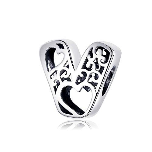 YJEW 925 Sterling Silber Charm Bead 26 Buchstaben Alphabet Initial Personalisierte Frau Hohl Charms Perlen Kompatibel Europa Armband & Halskette,V (Initial Charms)