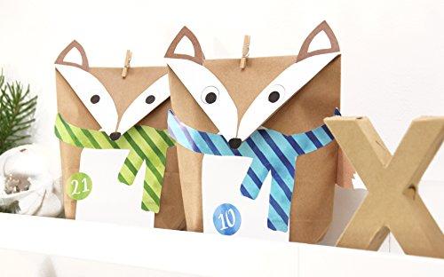 DIY Calendario de Adviento zorro Juego multicolor 24bolsas de regalo para niños para rellenar Manualidades