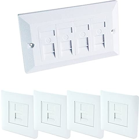 Quad & 4x Single CAT6 Wall Face Plates-4 Port RJ45 Ethernet Network Data Socket