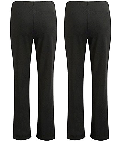 WOMENS ELASTICATED WAIST STRETCH RIBBED BOOTLEG TROUSERS LADIES PULL ON PANTS FINELY RIBBED NURSE CARER WORKER PLUS SIZE BOTTOMS BIG SIZES