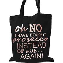 Oh No I Have Comprado Prosecco Bolsa de la compra (negro/metálico oro rosa