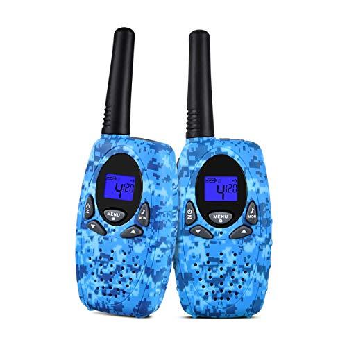 Upgrow 2X Walkie Talkies Kinder Funkgeräte Set 8 Kanäle 2-Wege Radio Walki Talki Funkhandy Interphone mit LCD Display, Kinder Speilzeug und Geschenk (Marineblau) Lcd-marine 2-wege-radio